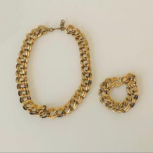 Monet Vintage Gold Doubled Link Necklace Set